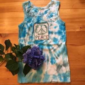 Hand tie-dyed peace sign lace tank top